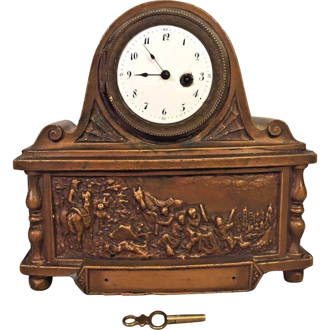 Antique French Fusee Shelf Clock Bronze Case Couturier ...