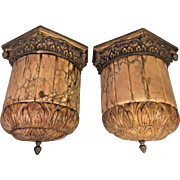 Vintage Pair of Wall Sconces Marble Soapstone and Bronze Electrified Beautiful Carved Detailing to Base