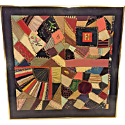 Antique Framed Piece of an Antique 1887 Crazy Quilt Gold Colored Metal Frame 4 of 4
