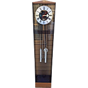 1980s Howard Miller George Nelson Designed Grandmothers Clock Running Time & Bim Bam Strike Weight Driven Chromed Weights & Pendulum Bob