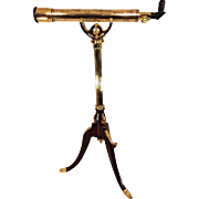 Vintage Franklin Mint Old Royal Observatory Celestial Telescope 1990s 24k Gold Plated Wood Tripod Stand w/ Box