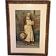 Antique Vittorio Guaccimanni Watercolor Painting of Standing Friar Monk Signed & Dated 1894