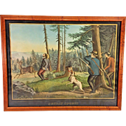 Antique Henry Schile Colored Chromolithograph Sunday Sports 1870 New York Hand Colored Deer Hunting Incident