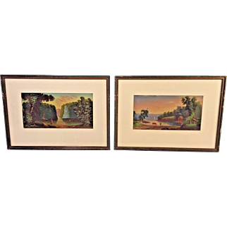 Pair of Hudson River Valley Oil on Board Paintings in Frame Late 19th Century Unknown Artist
