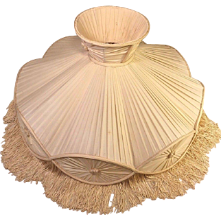 Vintage Silk Fabric Lamp Shade with Tassels for Figural Lamp No Makers Mark