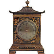 Antique French Chinoserie Clock Time Only Running? Callow of Mt Street Mayfair Brass Mvmt