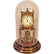 Antique German 400 Day Clock Torsion Pendulum Running Nice Glass Dome Porcelain Face 1920s
