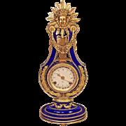 Vtg 1990 Franklin Mint Marie Antoinette Lyre Clock Runs 24k Gold Accents Blue Porcelain Case Mechanical Mvmt Bell Strike Victoria & Albert Museum