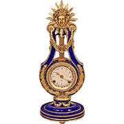 Vtg 1990 Franklin Mint Marie Antoinette Lyre Clock Runs 24k Gold Accents Blue Porcelain Case Mechanical Mvmt Bell Strike Victoria & Albert Museum
