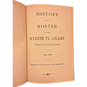 History and Roster of the Seventh PA Cavalry 1904   w/ War Dept Letter  for Chickamauga and  Chattanooga Natl Park Dedication First Edition Book Book Owned by Capt Heber Thompson of the 7th Pennsylvania Cavalry