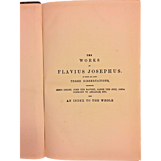 The Works of Flavius Josephus Volume 1895 by William Whiston Lippincott Publisher Philadelphia PA