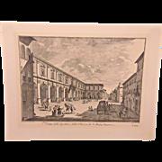 Vintage Engraving Bernard Sgrilli Sculptor  Not Framed Joseph Zocchi Engraver  Plate # T.XVI Veduta dello Spedale e della PIazza de S Maria Nuova