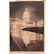 Don Swann Vintage Limited Edition Etching (#269/300) Washington DC US Capitol at Night