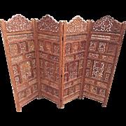 Vintage Asian Carved Wood 4 Panel Privacy Screen Room Divider Nice Detailing