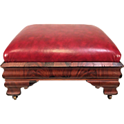 Antique Empire Foot Stool on Wheels with Red Leather Top Tiger Maple Flame Base