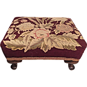 Vintage Needlework Foot Stool Wood Legs