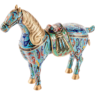 Vintage Chinese Cloisonne Horse with Removable Saddle and Mane