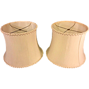 Vintage Pair of White Fabric Lamp Shades for Lamps