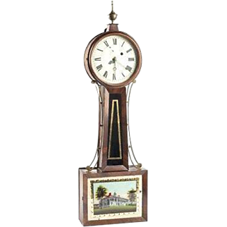 Antique 19th Century Banjo Clock with Mt Vernon Tablet Time Only Unknown Maker Not Running