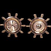 Vintage Chelsea Ships Wheel Clock & Barometer Set Running & Striking 1958 Retailed by Riggs & Brothers of Philadelphia PA