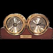 Vintage Howard Miller Clock & Barometer Set with Wood Base Running & Striking - Might be Chelsea Made Model # 613453 Solid Brass Cases