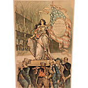 Antique Bernhard Gillam Lithograph of Republican Convention McKinley?  Lady Liberty Being Carried by Capital Labor GAR Farmer & Manufacturer  Sackett & Wilhelms Litho Co. New York