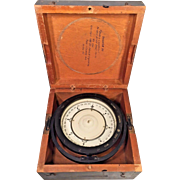 """Vintage Beck-Lee and Lionel WWII Mark II Compass in Gray Wood Case US Navy Bureau of Ships 6.75"""" Deck Card Compass"""