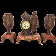 Antique Japy Freres French Clock & Garniture Set Marble & Bronze Runs & Strikes