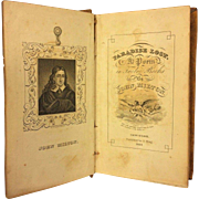 Antique Paradise Lost Mini Book by John Milton 1831 Publ by Solomon King NY Calf Leather Hardcovers  All Twelve Books in One