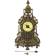 Antique 1890s French Louis XIV Bronze Rococo Style Clock Runs and Strikes Maker Not Known