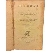 Sermons by Hugh Blair 1792 Volume One Only Published  by I Thomas and E T Andrews Boston MA