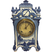 Antique Delft Style Clock Porcelain Case Unknown Maker Running Windmill Design Brass Movement Patented Bakelite Clock Face 1897
