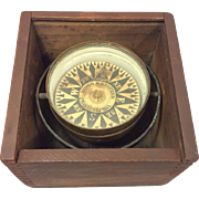 Antique Riggs & Brother Box Dry Card Compass in Wood Case with Slide Wood Top Works Philadelphia PA