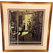 Norman Rockwell Pencil Signed Limited Edition Lithograph of Shuffleton's Barbershop #39 of 200
