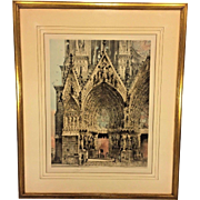 Antique Pencil Signed Colored Etching of Notre Dame de Rheims Cathedral Camille Arthur Fonce Early 1900s