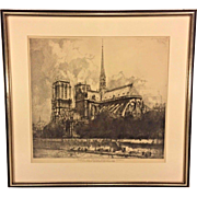 Antique Framed Etching of Notre Dame Cathedral Eau Forte Originale Par Louis Orr Most Likely Issued by the Louvre Museum Absied De Notre Dame de Paris