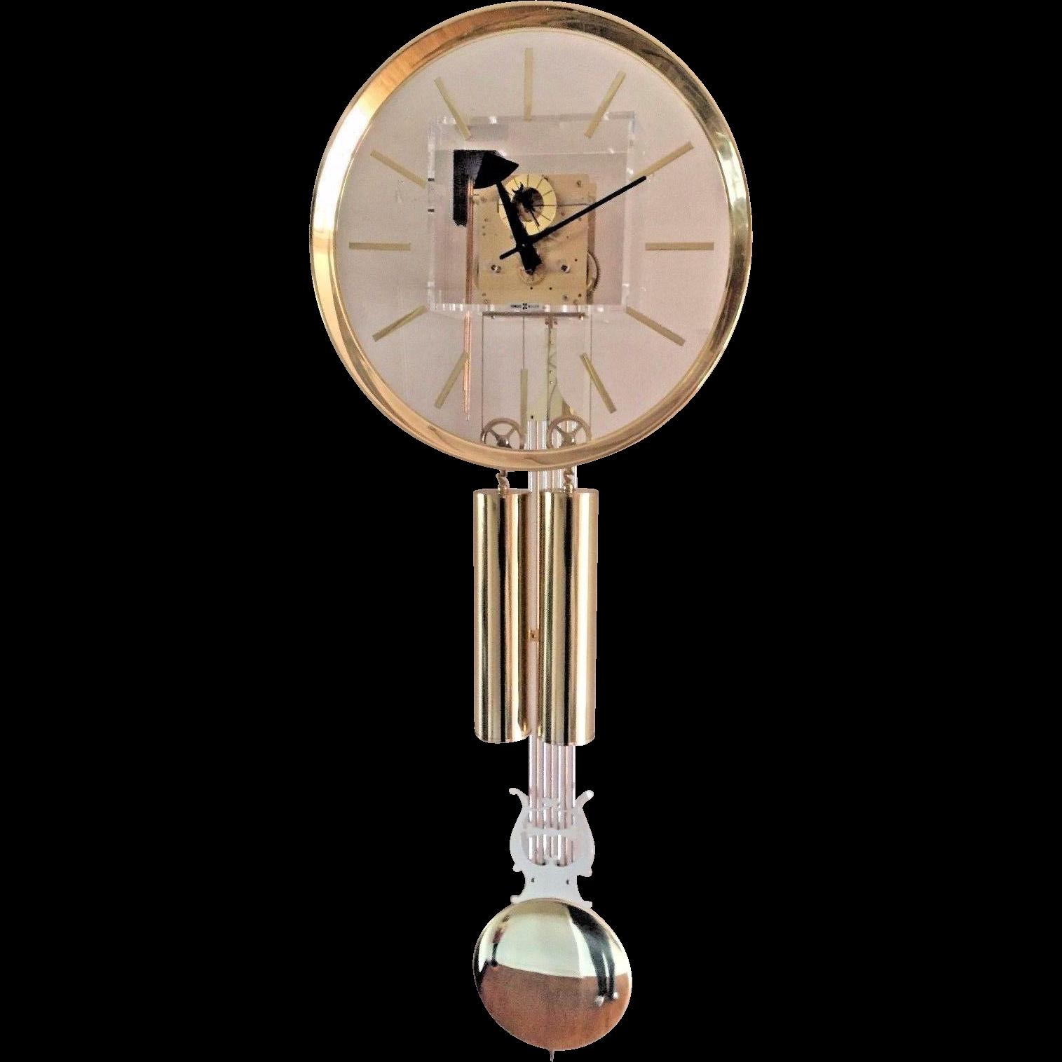 vtg howard miller george nelson designed mid century lucite wall clock runs bim bam strike a j kieninger movement germany - Howard Miller Clocks