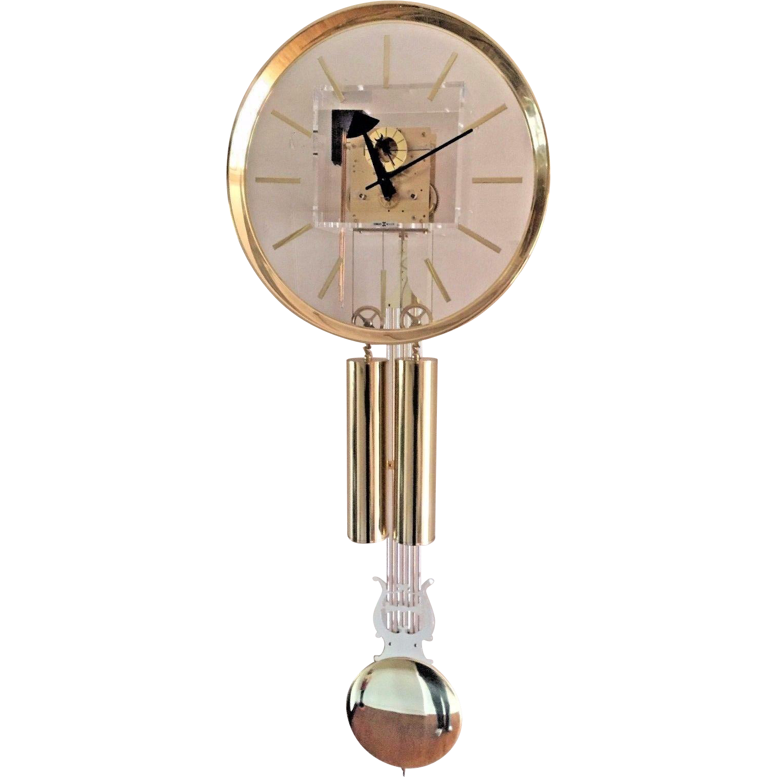 Vtg Howard Miller George Nelson Designed Mid Century Lucite Wall Clock Timelesstokensde Ruby Lane