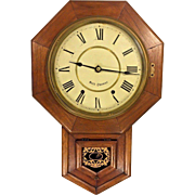 Vintage Seth Thomas Schoolhouse Regulator Wall Clock Runs & Strikes Oak Wood Case Brass Movement