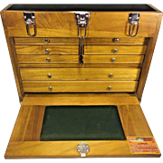 Vintage Wood Tool Chest 9 Drawers w/ Lock and Keys Great Jewelry Case!