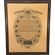 Antique Declaration of Independence Engraving  Done by J C Buttre in 1856   Framed Under Glass