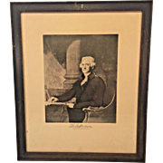 Antique Lithograph of Thomas Jefferson Wood Framed Under Glass