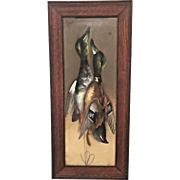 Antique Hanging Game Ducks Chalk on Board Signed (HN) & Frame