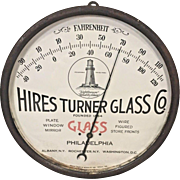 Vintage Advertising Thermometer Hires Turner Glass Co Philadelphia Metal Case with Glass over Face