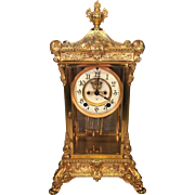 Vintage Ansonia Crystal Regulator Clock  Elysian Model   Nice Gold Colored Finish Faux Mercury Pendulum Not Running