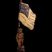 Vintage Lineol Composition WWI US Soldier Flag Bearer