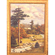 Antique Oil On Canvas Painting Woods with Creek Scene