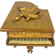 Vintage Grand Piano Music Box Thorens Swiss Gold Gilt Piano w/ Keyboard Bakelite Top Runs