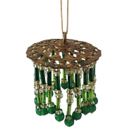 Old Doll House Chandelier, Light Shade. Beaded Green Glass