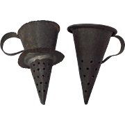 Two Rare Antique Tin, Cone Strainers, Colanders for Dolls House.